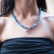 Blue Agate and Crystal Meditation Pendant necklace beads