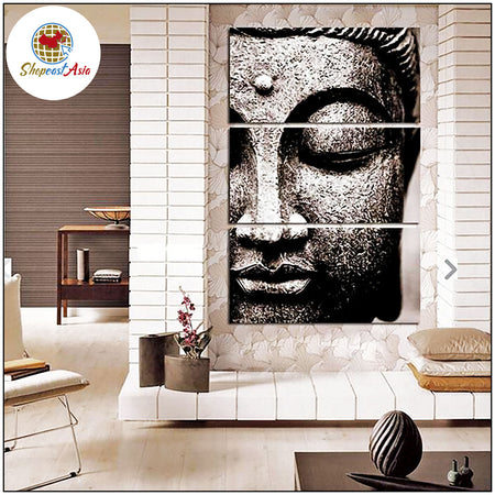 Frameless 3 Panels of Large Buddha Oil Print on Canvas