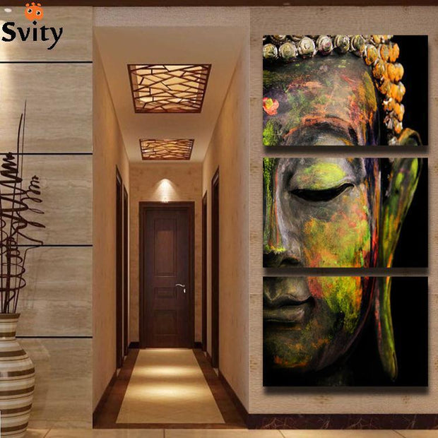 Frameless Buddha Oil Painting Wall Art