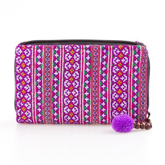 Unique Purple Embroidered Thai Wallet
