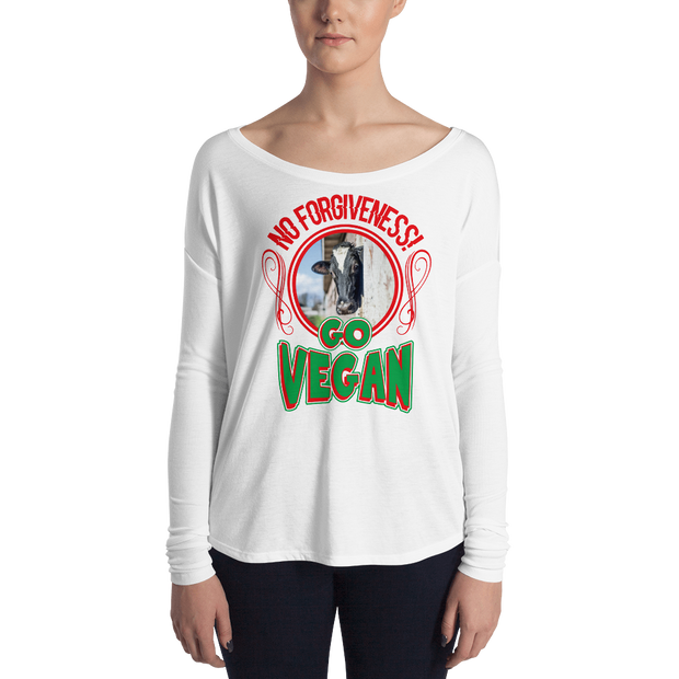 Ladies' Long Sleeve NO FORGIVENESS - GO VEGAN Tee