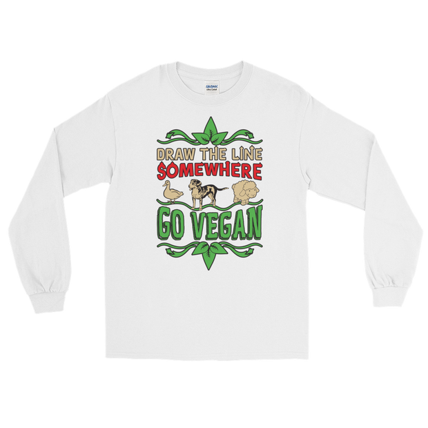 Long Sleeve DRAW THE LINE - GO VEGAN T-Shirt