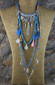 Ethnic silver Long Necklace
