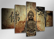 Unframed 5 Canvas Buddha Panels for Home Decor