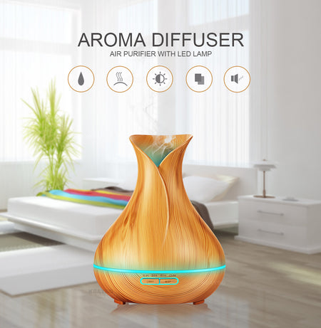 Wood Grain Essential Oil Ultrasonic Diffuser with 7 Colors Led Lights