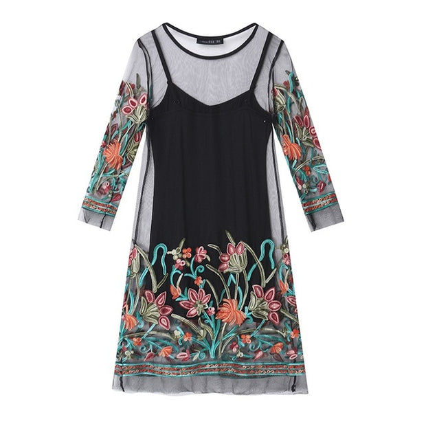 Floral Embroidery Lace Mesh Mini Dresses Casual