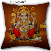 Hindu Style Pillow Cover with Ganesha, Hanuman and Shiva gods