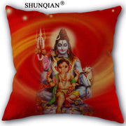 Hindu Style Pillow Cover with Ganesha and Shiva gods