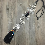 Shell Bead Alloy Tassel Pendants Necklace