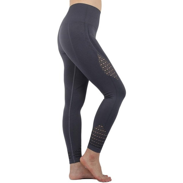 2018 Super Stretchy Gym Tights Energy Seamless Tummy Control Yoga Pants High Waist Sport Leggings Purple Running Pants Women