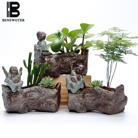 Yixing Buddha Monk Flower Pots