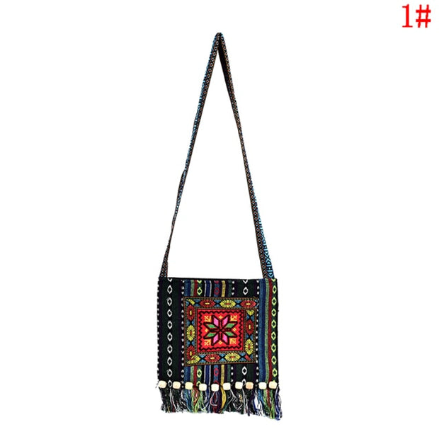 1PCS  Chinese Women Hmong Thai Embroidered Messenger Handbag Tassels Bag Boho Hippie Handbag