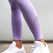 Diqian Super Stretchy Women Gym Tights Energy Seamless Tummy Control Yoga Pants High Waist Sport Leggings Purple Running Pants