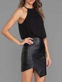 Leather Skirt Dress Black Halter Chiffon Asymmetrical Dress