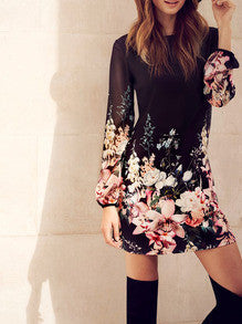 Black Flowers Dress Long Sleeve Vacation Dress