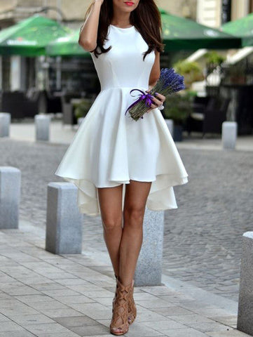 Homecoming Dance Dress White Hem Flare Dress Asymmetrical