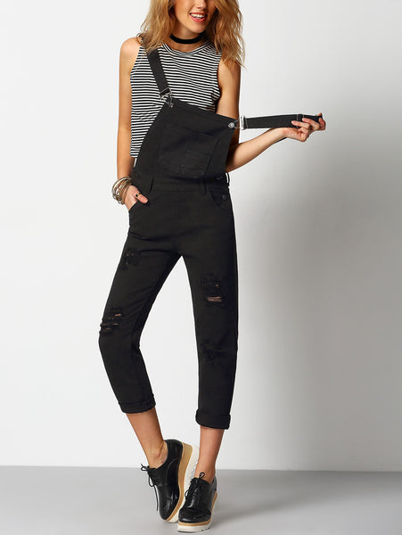 Black Denim Ripped Front Pockets Sleeveless Dungarees