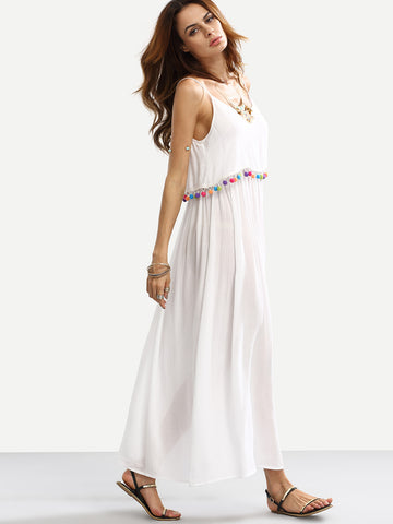 White Spaghetti Strap Double Layer Pom Pom Trim Dress