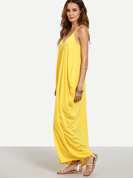 Yellow Plain V-Neckline Sleeveless Cocoon Cami Dress