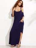 Navy Cold Shoulder Double Scoop Slit Dolphin Hem Maxi Dress