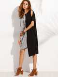 Black and Grey Round Neck Open Shoulder Asymmetric Dress