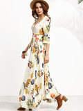 Apricot Jungle Print V-Neck 3/4 Sleeve Elastic Waistline Button Up Dress
