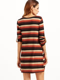 Multicolor Round Neck Striped Roll Sleeve Pocket Dress