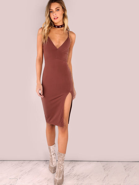 Brown Plungy Neckline Side Slit Bodycon Cami Dress