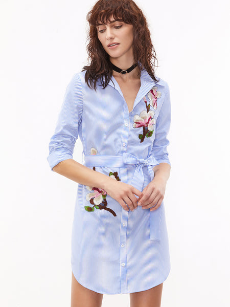 Blue Pinstripe Buttoned Front Curved Hem Embroidered Shirt Dress