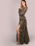 Brown Leopard Print Long Sleeve Chiffon Maxi Dress
