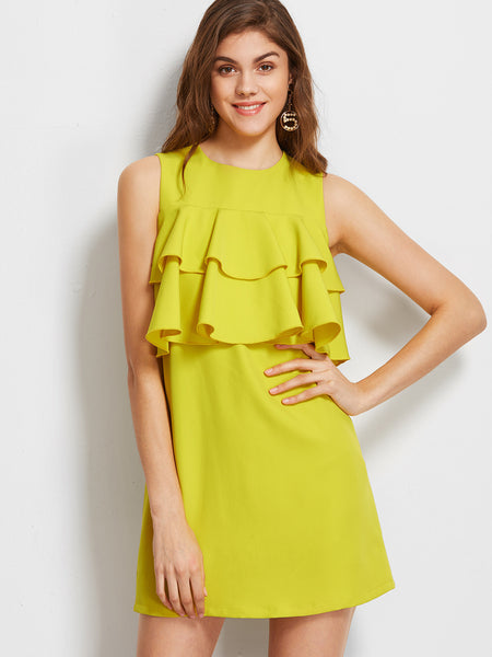 Yellow Sleeveless Layered Ruffle Trim Buttoned Keyhole Back Dress