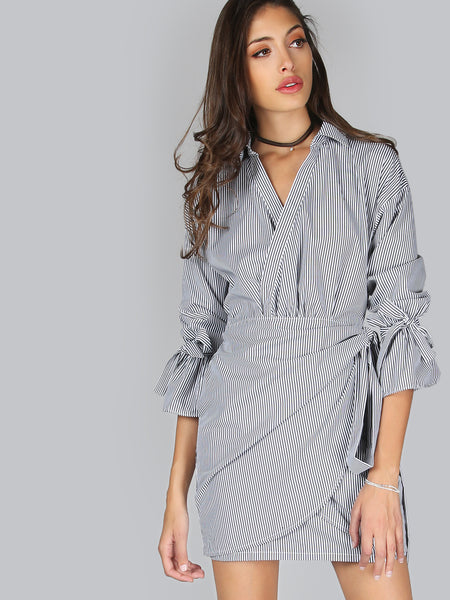 Black and White Pinstripe Tie Cuff Wrap Dress