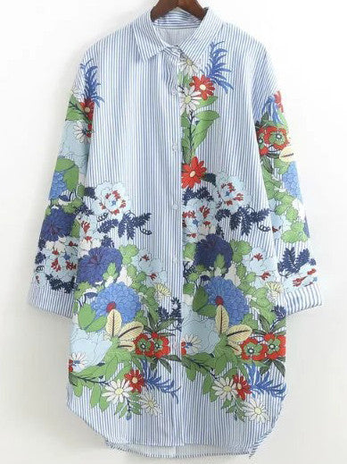Blue Long Sleeve Flower Print Vertical Striped Shirt Dress