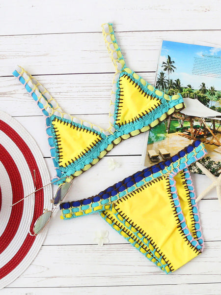Yellow Triangle Crochet Trim Bikini Set