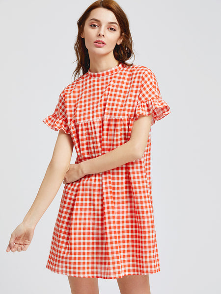 Orange Plaid High Neck Frill Sleeve Keyhole Tie Back Dress