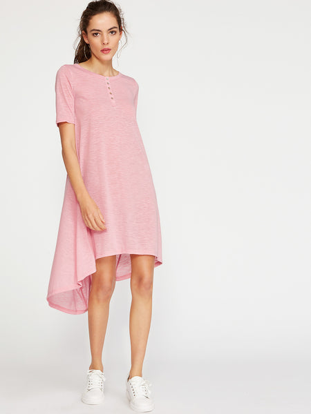 Pink Short Sleeve Button Front High Low Tee Dress