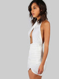 White Sleeveless Ruched Peakaboo Halter Dress