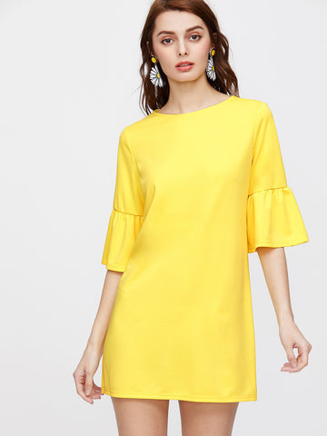 Yellow 3/4 Sleeve Flounce Cuff Round Neck Tunic Dress