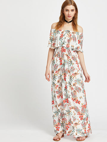 White Tropical Print Off Shoulder Layered Neckline Maxi Dress