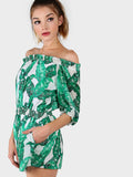 Green Tropical Print Elasticized Waistband Off Shoulder Romper