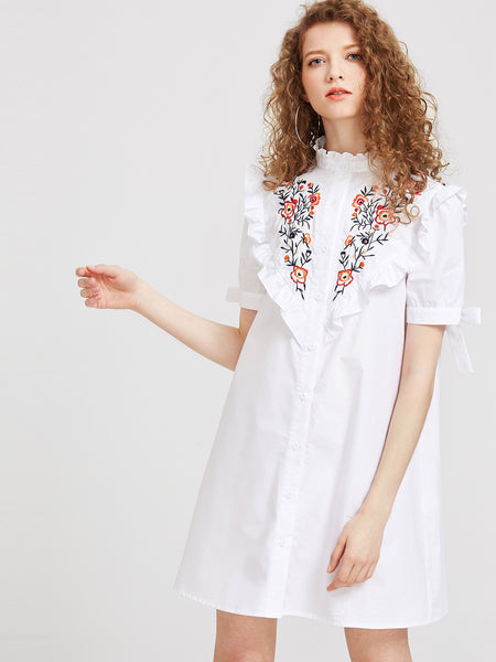 White High Neck Tie Short Sleeve Shirt Dress
