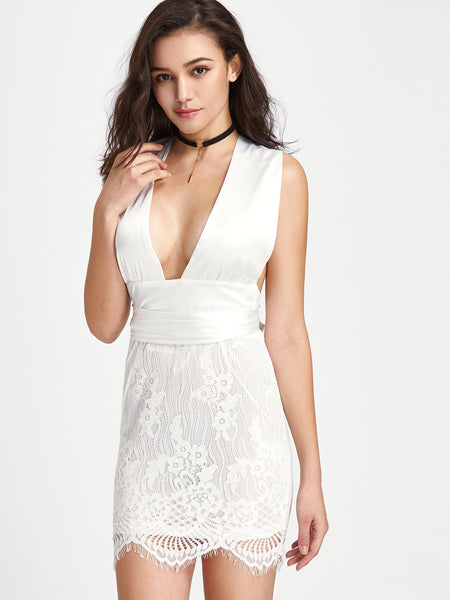White Pink Deep V-Neck Infinity Overlay Dress