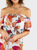 White Off Shoulder Palm Leaf Print Knot Front Sexy Back Playsuit