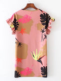 Multicolor Ruffle Sleeve Round Neck Tropical Print Dress
