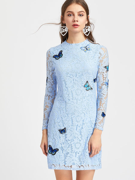 Blue Floral Lace Embroidered Butterfly Long Sleeve Dress