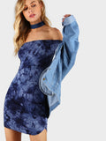 Navy Tie Dye Off Shoulder Curved Hem Dress