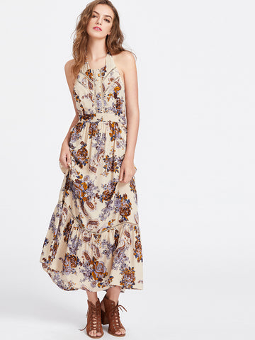 Apricot Halter Neck Flower Print Lace Insert Maxi Dress