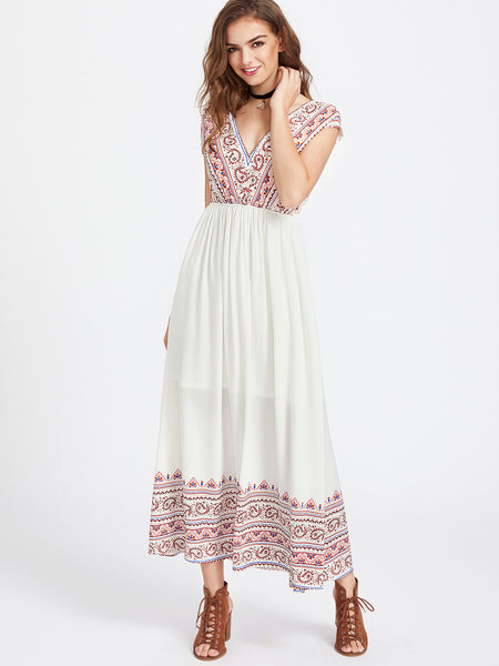 White Paisley Print Elastic Waist Double V-Neck Dress