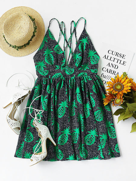 Green Pineapple Print Plunging Neckline Strappy Cami Dress