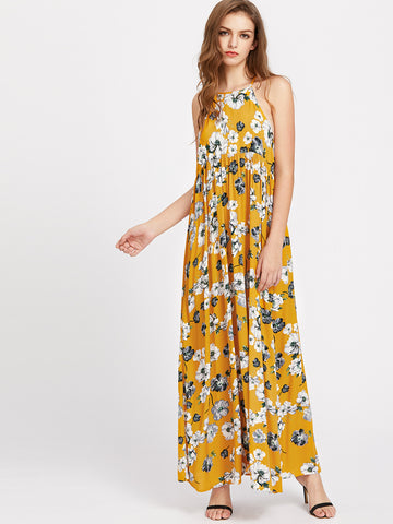 Yellow Floral Print Back Hole High Waist Maxi Dress